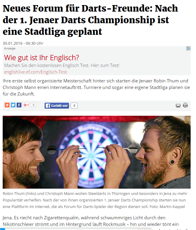 Darts Jena in der OTZ